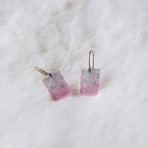 Pink Dichroic Glass Earrings
